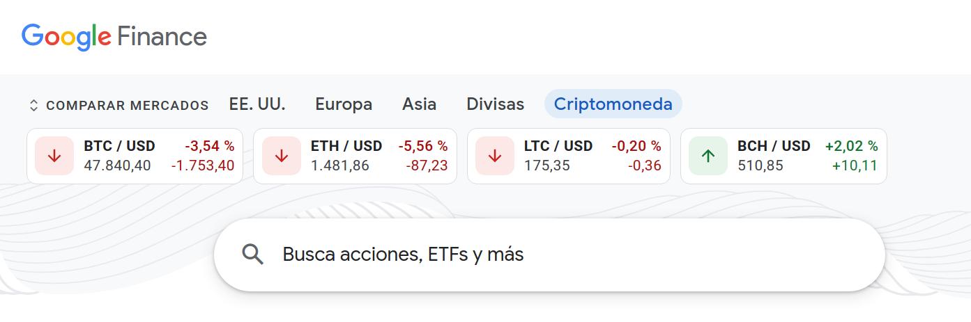 Visualización de precio de criptomonedas en Google Finance